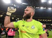 3 November 2019; Alan Mannus of Shamrock Rovers celebrates after the extra.ie FAI Cup Final between Dundalk and Shamrock Rovers at the Aviva Stadium in Dublin. Photo by Ben McShane/Sportsfile