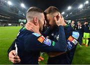 3 November 2019; Jack Byrne, left, and Greg Bolger of Shamrock Rovers celebrate following the extra.ie FAI Cup Final between Dundalk and Shamrock Rovers at the Aviva Stadium in Dublin. Photo by Seb Daly/Sportsfile