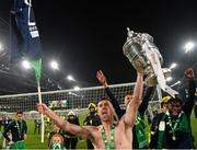 3 November 2019; Aaron Greene of Shamrock Rovers celebrates with the trophy following the extra.ie FAI Cup Final between Dundalk and Shamrock Rovers at the Aviva Stadium in Dublin. Photo by Seb Daly/Sportsfile