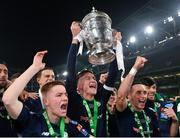 3 November 2019; Shamrock Rover captain Ronan Finn celebrates with the trophy alongside his team-mates following the extra.ie FAI Cup Final between Dundalk and Shamrock Rovers at the Aviva Stadium in Dublin. Photo by Seb Daly/Sportsfile