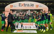 3 November 2019; Shamrock Rovers players celebrate with the trophy following the extra.ie FAI Cup Final between Dundalk and Shamrock Rovers at the Aviva Stadium in Dublin. Photo by Seb Daly/Sportsfile