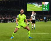 3 November 2019; Shamrock Rovers goalkeeper Alan Mannus celebrates saving a penalty from Dundalk's Daniel Cleary in the shoot-out during the extra.ie FAI Cup Final between Dundalk and Shamrock Rovers at the Aviva Stadium in Dublin. Photo by Stephen McCarthy/Sportsfile