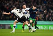 3 November 2019; Jack Byrne of Shamrock Rovers in action against Brian Gartland and Jamie McGrath of Dundalk during the extra.ie FAI Cup Final between Dundalk and Shamrock Rovers at the Aviva Stadium in Dublin. Photo by Seb Daly/Sportsfile