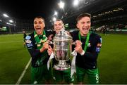 3 November 2019; Shamrock Rovers players, from left, Graham Burke, Sean Kavanagh and Ronan Finn celebrate following the extra.ie FAI Cup Final between Dundalk and Shamrock Rovers at the Aviva Stadium in Dublin. Photo by Stephen McCarthy/Sportsfile