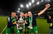 3 November 2019; Shamrock Rovers players, from left, Graham Burke, Sean Kavanagh, Ronan Finn and Joey O'Brien celebrate following the extra.ie FAI Cup Final between Dundalk and Shamrock Rovers at the Aviva Stadium in Dublin. Photo by Stephen McCarthy/Sportsfile