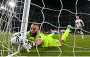 3 November 2019; Shamrock Rovers goalkeeper Alan Mannus fails to stop a penalty Jordan Flores of Dundalk during the extra.ie FAI Cup Final between Dundalk and Shamrock Rovers at the Aviva Stadium in Dublin. Photo by Stephen McCarthy/Sportsfile
