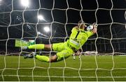 3 November 2019; Shamrock Rovers goalkeeper Alan Mannus saves a penalty from Daniel Cleary of Dundalk during the extra.ie FAI Cup Final between Dundalk and Shamrock Rovers at the Aviva Stadium in Dublin. Photo by Stephen McCarthy/Sportsfile