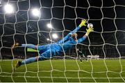 3 November 2019; Jack Byrne of Shamrock Rovers scores a penalty past Dundalk goalkeeper Gary Rogers during the extra.ie FAI Cup Final between Dundalk and Shamrock Rovers at the Aviva Stadium in Dublin. Photo by Stephen McCarthy/Sportsfile