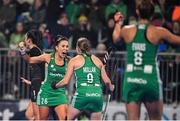 3 November 2019; Anna O'Flanagan and Katie Mullan of Ireland celebrate winning a short corner during the FIH Women's Olympic Qualifier match between Ireland and Canada at Energia Park in Dublin. Photo by Brendan Moran/ Sportsfile