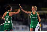 3 November 2019; Roisin Upton, left, and Chloe Watkins of Ireland celebrate during the penalty stroke sudden death shoot out during the FIH Women's Olympic Qualifier match between Ireland and Canada at Energia Park in Dublin. Photo by Brendan Moran/ Sportsfile