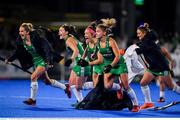 3 November 2019; Ireland players including Chloe Watkins, second from right,  celebrate the end of the penalty shoot out  during the FIH Women's Olympic Qualifier match between Ireland and Canada at Energia Park in Dublin. Photo by Brendan Moran/Sportsfile
