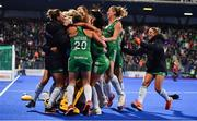 3 November 2019; Ireland players celebrate winning the penalty strokes and qualifying for the Tokyo2020 Olympic Games after the FIH Women's Olympic Qualifier match between Ireland and Canada at Energia Park in Dublin. Photo by Brendan Moran/Sportsfile