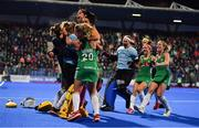 3 November 2019; Ireland players celebrate winning the penalty strokes and qualifying for the Tokyo2020 Olympic Games during after the FIH Women's Olympic Qualifier match between Ireland and Canada at Energia Park in Dublin. Photo by Brendan Moran/Sportsfile