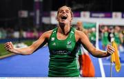 3 November 2019; Ireland captain Katie Mullan celebrates winning the penalty strokes and qualifying for the Tokyo2020 Olympic Games after the FIH Women's Olympic Qualifier match between Ireland and Canada at Energia Park in Dublin. Photo by Brendan Moran/Sportsfile