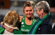 3 November 2019; Deirdre Duke of Ireland celebrates with her parents Greta and Brendan after qualifying for the Tokyo2020 Olympic Games after the FIH Women's Olympic Qualifier match between Ireland and Canada at Energia Park in Dublin. Photo by Brendan Moran/Sportsfile