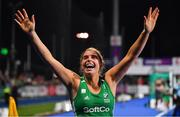 3 November 2019; Ireland captain Katie Mullan celebrates after qualifying for the Tokyo2020 Olympic Games after the FIH Women's Olympic Qualifier match between Ireland and Canada at Energia Park in Dublin. Photo by Brendan Moran/Sportsfile