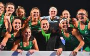 3 November 2019; An Taoiseach Leo Varadkar, T.D celebrates with the Ireland team after they qualified for the Tokyo2020 Olympic Games after the FIH Women's Olympic Qualifier match between Ireland and Canada at Energia Park in Dublin. Photo by Brendan Moran/Sportsfile