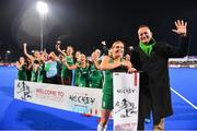 3 November 2019; An Taoiseach Leo Varadkar, T.D celebrates with Ireland captain Katie Mullan and the Ireland team after they qualified for the Tokyo2020 Olympic Games  after the FIH Women's Olympic Qualifier match between Ireland and Canada at Energia Park in Dublin. Photo by Brendan Moran/Sportsfile