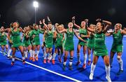 3 November 2019; Ireland players celebrate after qualifying for the Tokyo2020 Olympic Games after the FIH Women's Olympic Qualifier match between Ireland and Canada at Energia Park in Dublin. Photo by Brendan Moran/Sportsfile