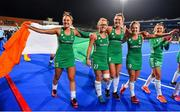 3 November 2019; Ireland players, from left, Elena Tice, Zoe Wilson, Nikki Evans, Chloe Watkins and Gillian Pinder celebrate after qualifying for the Tokyo2020 Olympic Games after the FIH Women's Olympic Qualifier match between Ireland and Canada at Energia Park in Dublin. Photo by Brendan Moran/Sportsfile