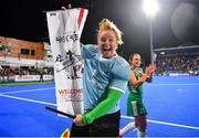 3 November 2019; Ayeisha McFerran of Ireland celebrates after qualifying for the Tokyo2020 Olympic Games after the FIH Women's Olympic Qualifier match between Ireland and Canada at Energia Park in Dublin. Photo by Brendan Moran/Sportsfile