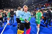 3 November 2019; Ayeisha McFerran of Ireland sprays champagne after qualifying for the Tokyo2020 Olympic Games after the FIH Women's Olympic Qualifier match between Ireland and Canada at Energia Park in Dublin. Photo by Brendan Moran/Sportsfile