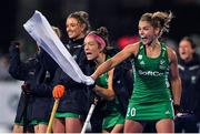 3 November 2019; Chloe Watkins of Ireland and her team-mates celebrate during penalty strokes during the FIH Women's Olympic Qualifier match between Ireland and Canada at Energia Park in Dublin. Photo by Brendan Moran/Sportsfile