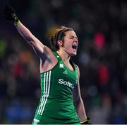 3 November 2019; Roisin Upton of Ireland celebrates after qualifying for the Tokyo2020 Olympic Games during the FIH Women's Olympic Qualifier match between Ireland and Canada at Energia Park in Dublin. Photo by Brendan Moran/Sportsfile