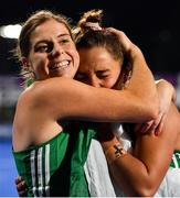 3 November 2019; Ireland captain Katie Mullan, left, and Elena Tice of Ireland celebrate after qualifying for the Tokyo2020 Olympic Games during after the FIH Women's Olympic Qualifier match between Ireland and Canada at Energia Park in Dublin. Photo by Brendan Moran/Sportsfile