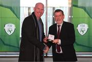 3 November 2019; FAI President Donal Conway makes a presentation to Tony Blake, a member of the Sligo Rovers FAI Cup winning team of 1994, prior to the extra.ie FAI Cup Final between Dundalk and Shamrock Rovers at the Aviva Stadium in Dublin. Photo by Stephen McCarthy/Sportsfile