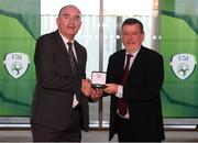3 November 2019; FAI President Donal Conway makes a presentation to Trevor Scanlon, a member of the Sligo Rovers FAI Cup winning team of 1994, prior to the extra.ie FAI Cup Final between Dundalk and Shamrock Rovers at the Aviva Stadium in Dublin. Photo by Stephen McCarthy/Sportsfile