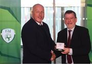 3 November 2019; FAI President Donal Conway makes a presentation to Glenn Young, a member of the Sligo Rovers FAI Cup winning team of 1994, prior to the extra.ie FAI Cup Final between Dundalk and Shamrock Rovers at the Aviva Stadium in Dublin. Photo by Stephen McCarthy/Sportsfile