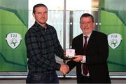 3 November 2019; FAI President Donal Conway makes a presentation to Johnny Kenny, a member of the Sligo Rovers FAI Cup winning team of 1994, prior to the extra.ie FAI Cup Final between Dundalk and Shamrock Rovers at the Aviva Stadium in Dublin. Photo by Stephen McCarthy/Sportsfile