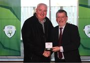 3 November 2019; FAI President Donal Conway makes a presentation to Gavin Dykes, captain of the Sligo Rovers FAI Cup winning team of 1994, prior to the extra.ie FAI Cup Final between Dundalk and Shamrock Rovers at the Aviva Stadium in Dublin. Photo by Stephen McCarthy/Sportsfile