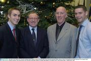 4 December 2003; Dublin and UCD gaelic footballers Darren Magee, far right, and Paul Griffin, far left, pictured with Brian Mullins, Director of Sport UCD and Dr Pat O'Neill, Chairman UCD Graduate Gaelic Football Committee, at the announcement of the 2003/2004 scholarship recipients in O'Reilly Hall, Belfield, UCD, Dublin. Picture credit; Damien Eagers / SPORTSFILE *EDI*