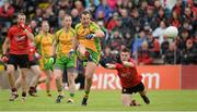 23 June 2013; Michael Murphy, Donegal, in action against Keith Quinn, Down. Ulster GAA Football Senior Championship Semi-Final, Donegal v Down, Kingspan Breffni Park, Cavan. Picture credit: Oliver McVeigh / SPORTSFILE
