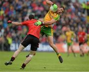 23 June 2013; Ryan Bradley, Donegal, in action against Keith Quinn, Down. Ulster GAA Football Senior Championship Semi-Final, Donegal v Down, Kingspan Breffni Park, Cavan. Picture credit: Oliver McVeigh / SPORTSFILE