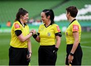 3 November 2019; Match officials, from left, Katie Hall, assistant referee, referee Sarah Dyas, and Michelle O'Neill, assistant referee, prior to  during the Só Hotels FAI Women's Cup Final between Wexford Youths and Peamount United at the Aviva Stadium in Dublin. Photo by Stephen McCarthy/Sportsfile