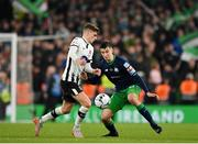 3 November 2019; Neil Farrugia of Shamrock Rovers in action against Seán Gannon of Dundalk during the extra.ie FAI Cup Final between Dundalk and Shamrock Rovers at the Aviva Stadium in Dublin. Photo by Seb Daly/Sportsfile
