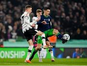 3 November 2019; Neil Farrugia of Shamrock Rovers in action against Daniel Kelly, left, and Seán Gannon of Dundalk during the extra.ie FAI Cup Final between Dundalk and Shamrock Rovers at the Aviva Stadium in Dublin. Photo by Seb Daly/Sportsfile