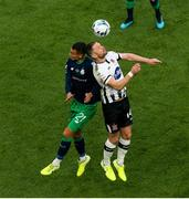 3 November 2019; Dane Massey of Dundalk in action against Graham Burke of Shamrock Rovers during the extra.ie FAI Cup Final between Dundalk and Shamrock Rovers at the Aviva Stadium in Dublin. Photo by Michael P Ryan/Sportsfile