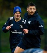 4 November 2019; Jonathan Sexton, left, and Ross Byrne during Leinster Rugby squad training at Energia Park in Donnybrook, Dublin. Photo by Ramsey Cardy/Sportsfile