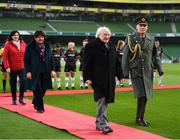 3 November 2019; President of Ireland Michael D Higgins during the Só Hotels FAI Women's Cup Final between Wexford Youths and Peamount United at the Aviva Stadium in Dublin. Photo by Stephen McCarthy/Sportsfile