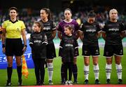 3 November 2019; Wexford Youths players and assistant referee Michelle O'Neill during the Só Hotels FAI Women's Cup Final between Wexford Youths and Peamount United at the Aviva Stadium in Dublin. Photo by Stephen McCarthy/Sportsfile