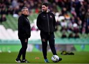 3 November 2019; Dundalk first team coach John Gill, left, and Dundalk assistant head coach Ruaidhri Higgins ahead of the extra.ie FAI Cup Final between Dundalk and Shamrock Rovers at the Aviva Stadium in Dublin. Photo by Ben McShane/Sportsfile