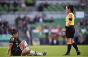 3 November 2019; Rianna Jarrett of Wexford Youths and referee Sarah Dyas during the Só Hotels FAI Women's Cup Final between Wexford Youths and Peamount United at the Aviva Stadium in Dublin. Photo by Ben McShane/Sportsfile