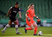 3 November 2019; Peamount United goalkeeper Niamh Reid Burke and Rianna Jarrett of Wexford Youths during the Só Hotels FAI Women's Cup Final between Wexford Youths and Peamount United at the Aviva Stadium in Dublin. Photo by Ben McShane/Sportsfile