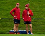 5 November 2019; Head coach Johann van Graan with Tyler Bleyendaal during a Munster Rugby squad training session at University of Limerick in Limerick. Photo by Matt Browne/Sportsfile