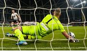 3 November 2019; Shamrock Rovers goalkeeper Alan Mannus celebrates after saving a penalty from Daniel Cleary of Dundalk during the extra.ie FAI Cup Final between Dundalk and Shamrock Rovers at the Aviva Stadium in Dublin. Photo by Stephen McCarthy/Sportsfile