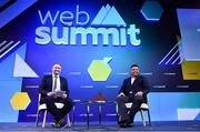 5 November 2019; Ronaldo, Chairman, Real Valladolid, and Ger Gilroy, Managing Director, Off The Ball, on SportsTrade during the opening day of Web Summit 2019 at the Altice Arena in Lisbon, Portugal. Photo by Stephen McCarthy/Web Summit via Sportsfile